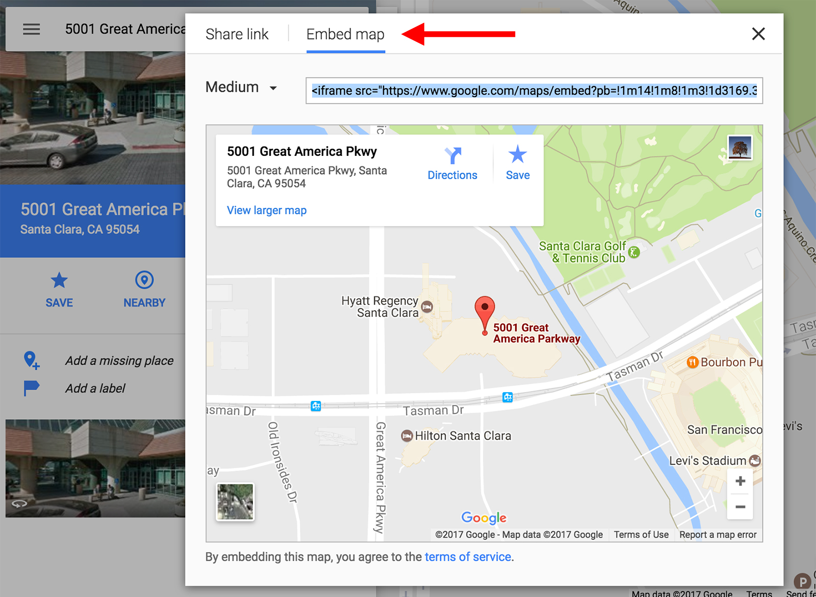 Google Map embed screen